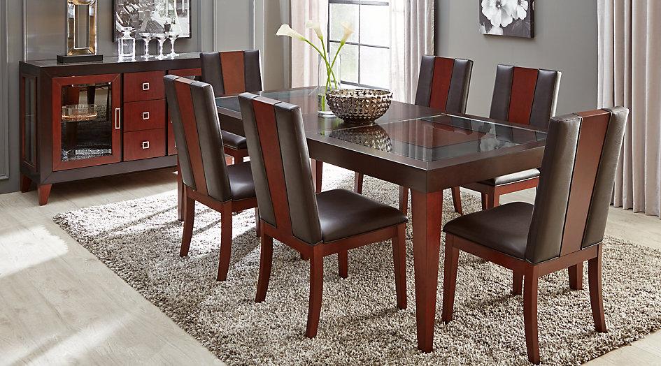 dining table sets sofia vergara savona chocolate 5 pieces rectangular dining room XNEBEPA