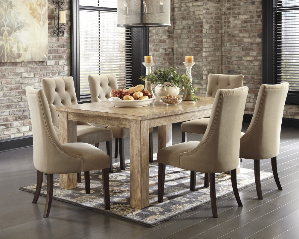 dining tables and chairs mestler bisque porcelain rectangular dining room table & 6 light brown top side TAGRTIR
