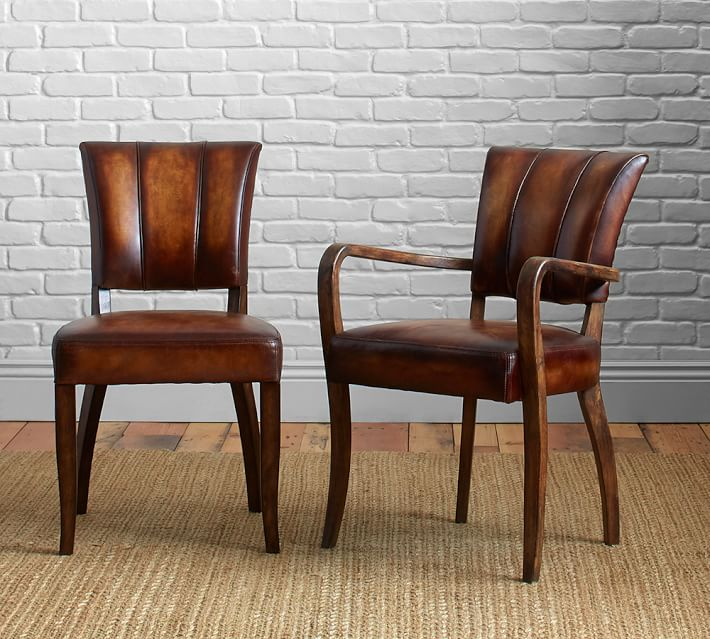 Dining room chairs elliot leather dining room chair    Pottery barn CFRISCO
