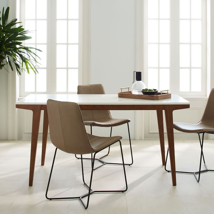 Dining table modern extendable dining table |  West Elm MCLQCYQ