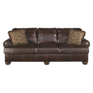 Leather sofa in used look, railing leather sofa KPHTYEN