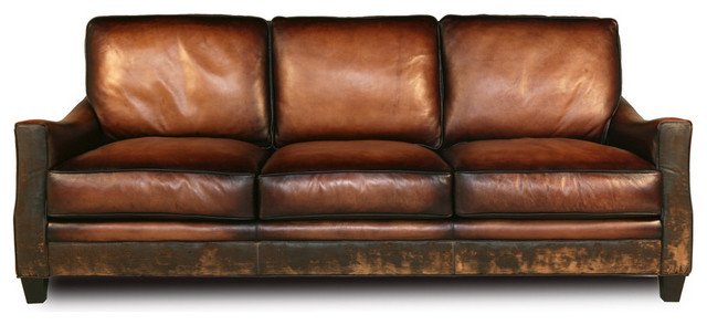 Leather sofa in used look handmade brown leather sofa in used look HALRXER