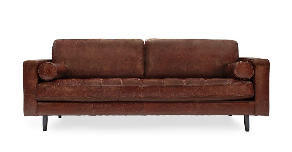 Used-look leather sofa Freeman sofa, used-look leather - modern mid-century design with premium distressed RKZIADU