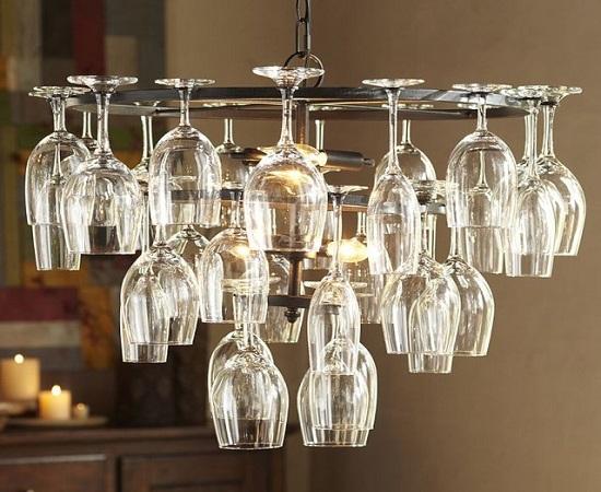 DIY chandelier DIY chandelier with upturned wine glasses OBQQTLV