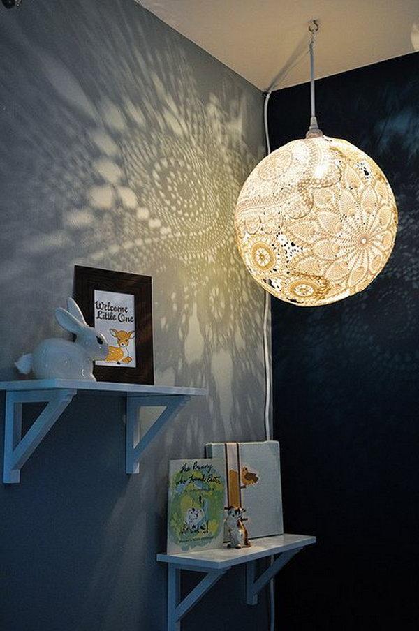 DIY chandelier DIY doily pendant light XTQCIDT