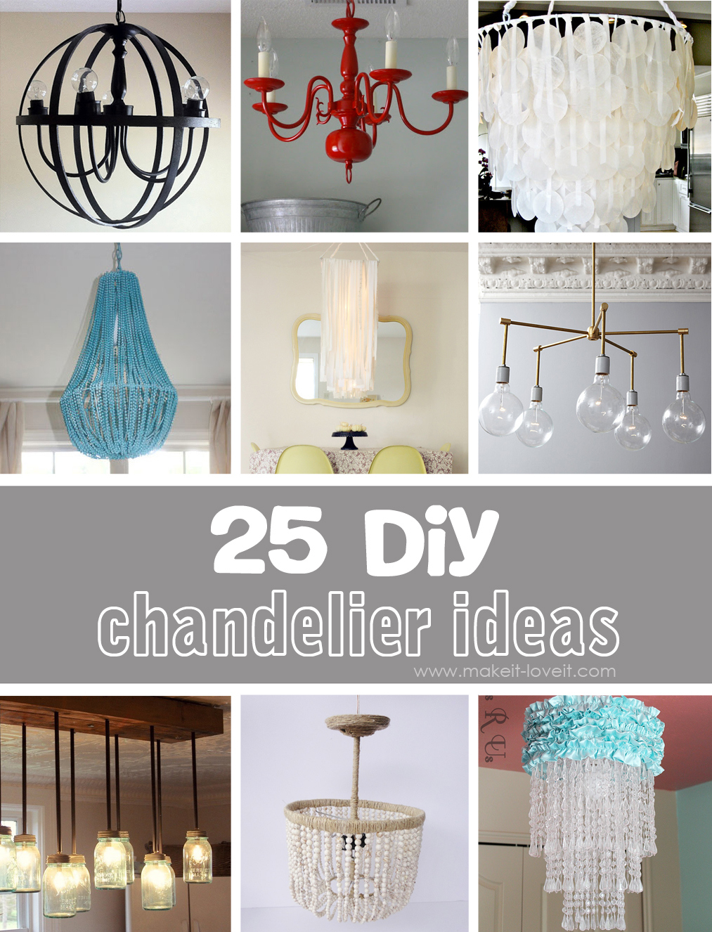 DIY Chandelier How to Make a Homemade Chandelier from scratch - 25 Different DIY TDCKWCL