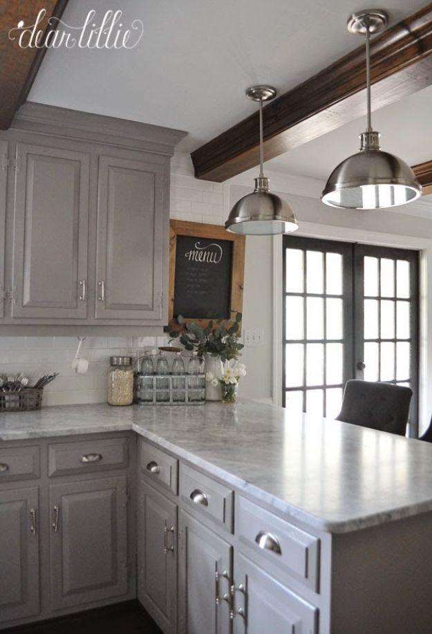 DIY Kitchen Makeover Ideas - Gray Kitchen Makeover - Cheap Projects RPFNYOZ