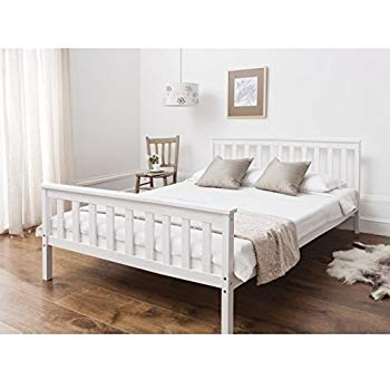 Double bed in white 4u00276 double bed wooden frame white Dorset JIBELYO