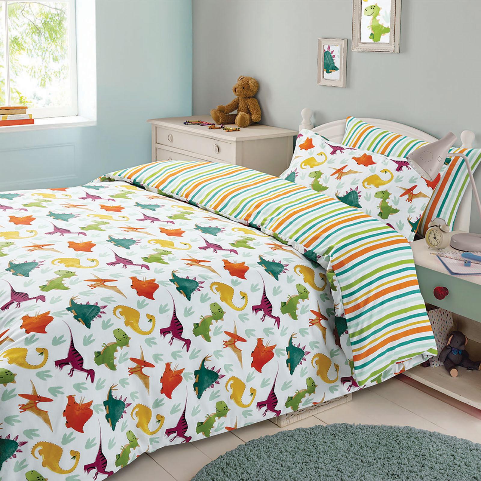 Dreamscene Dinosaur Duvet Cover Pillowcase Children's Bedding Set Stripes Single Double RTBIKSM