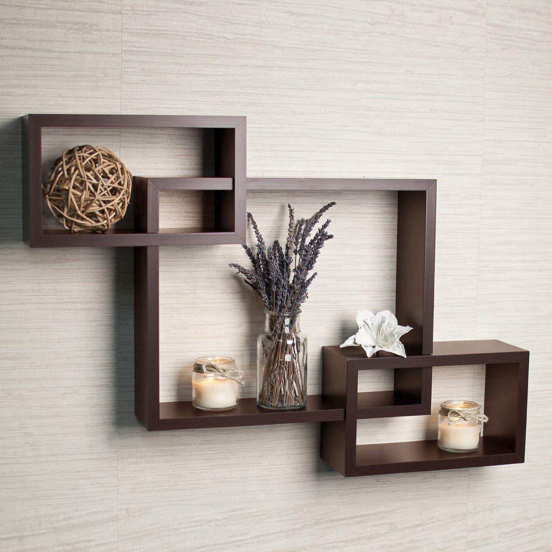 Driftwood wall shelf set of 3 crossing wall shelves - brown PMKCCLN