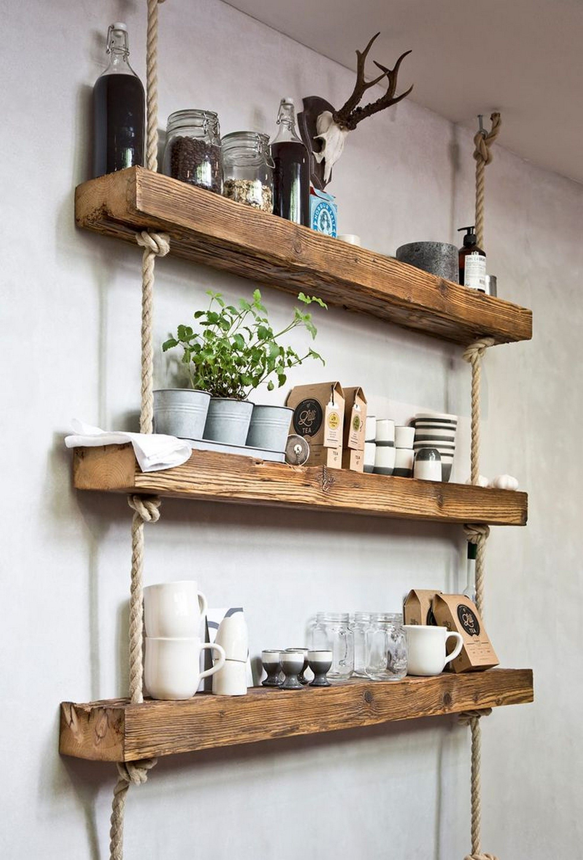 simple and stylish DIY wooden wall shelves.  JXLNBDT