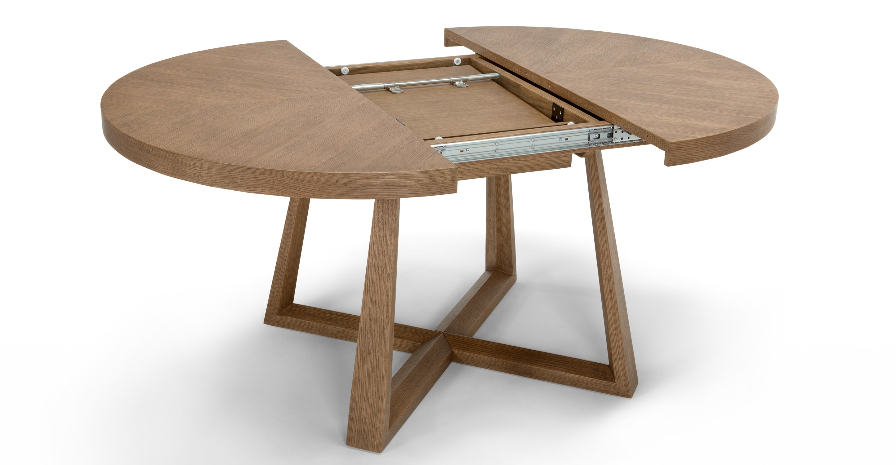 extendable dining table an extendable dining table made of dark stained oak.  EYGIJET