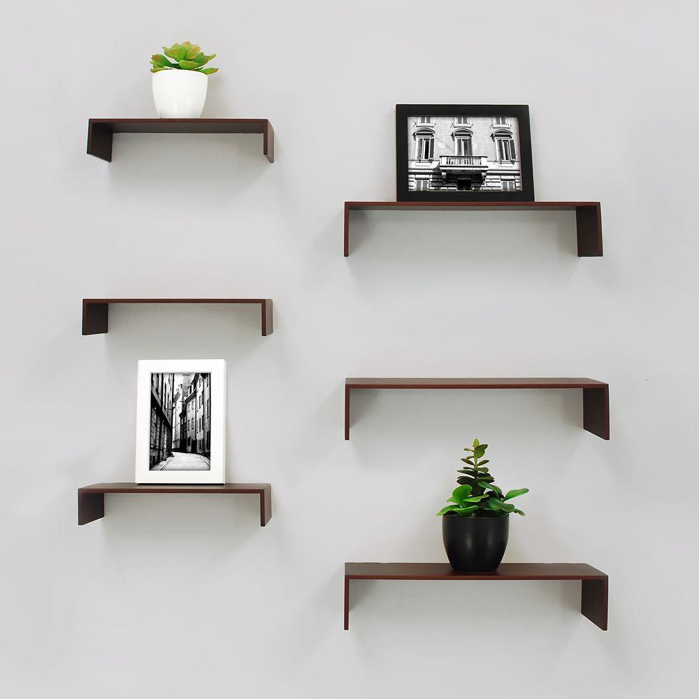 extense 6-pack wall shelves - Espresso KXNEQVS