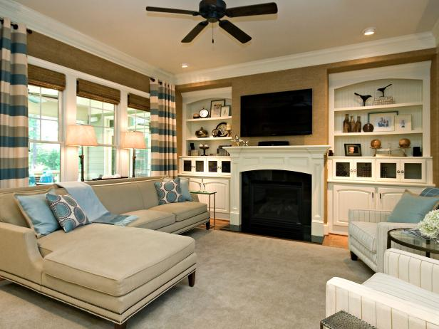 Family room brown-white transitional living room with striped curtains GBPNWCK