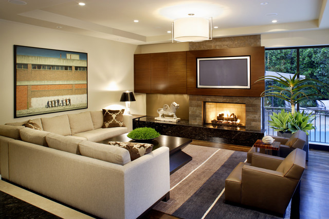 Westwood Residence Family Room Contemporary family room JZIDLLW