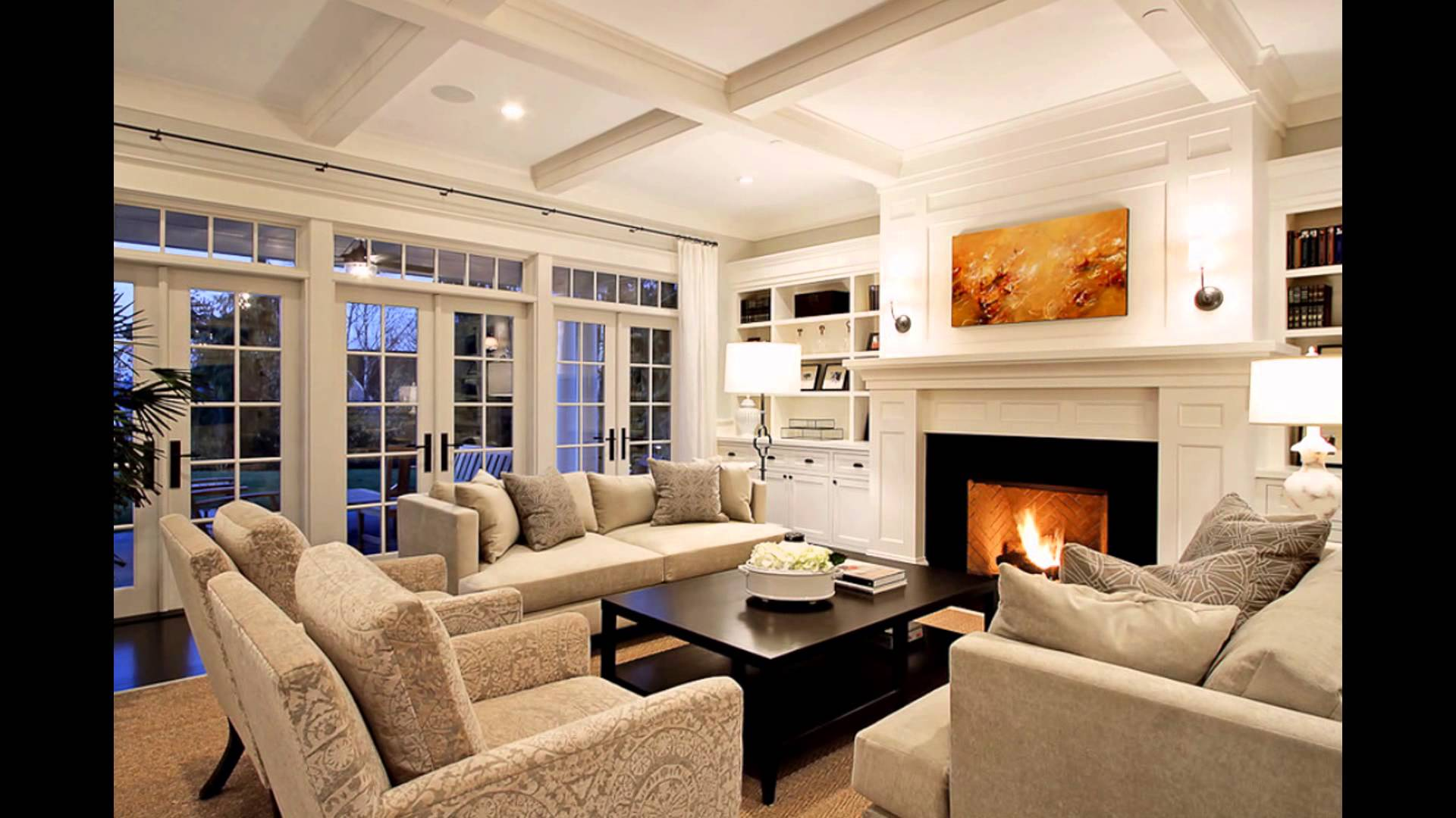 Family room with fireplaces TV Stone corner Brick decoration ideas Layout NPSQDHH