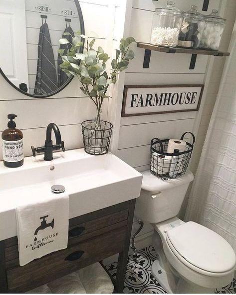 Rustic Farmhouse Bathroom Ideas (77) |  Modern farmhouse.