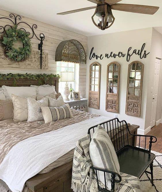 23 Farmhouse Bedroom Ideas in 2020 |  Master bedroom decor.
