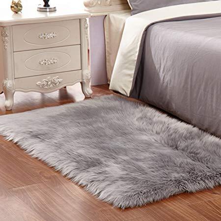 Artificial fur rug gray soft fluffy rug Shaggy rugs Artificial fur rugs XFLYEUH