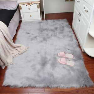 Faux fur carpet Image is loading faux fur-lambskin-carpet-large-fluffy-bedroom-sofa-FZVDMKV