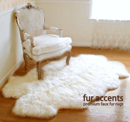 Carpet made of thick imitation sheepskin / long hair accent carpet made of faux fur / white / QMWNVGIW