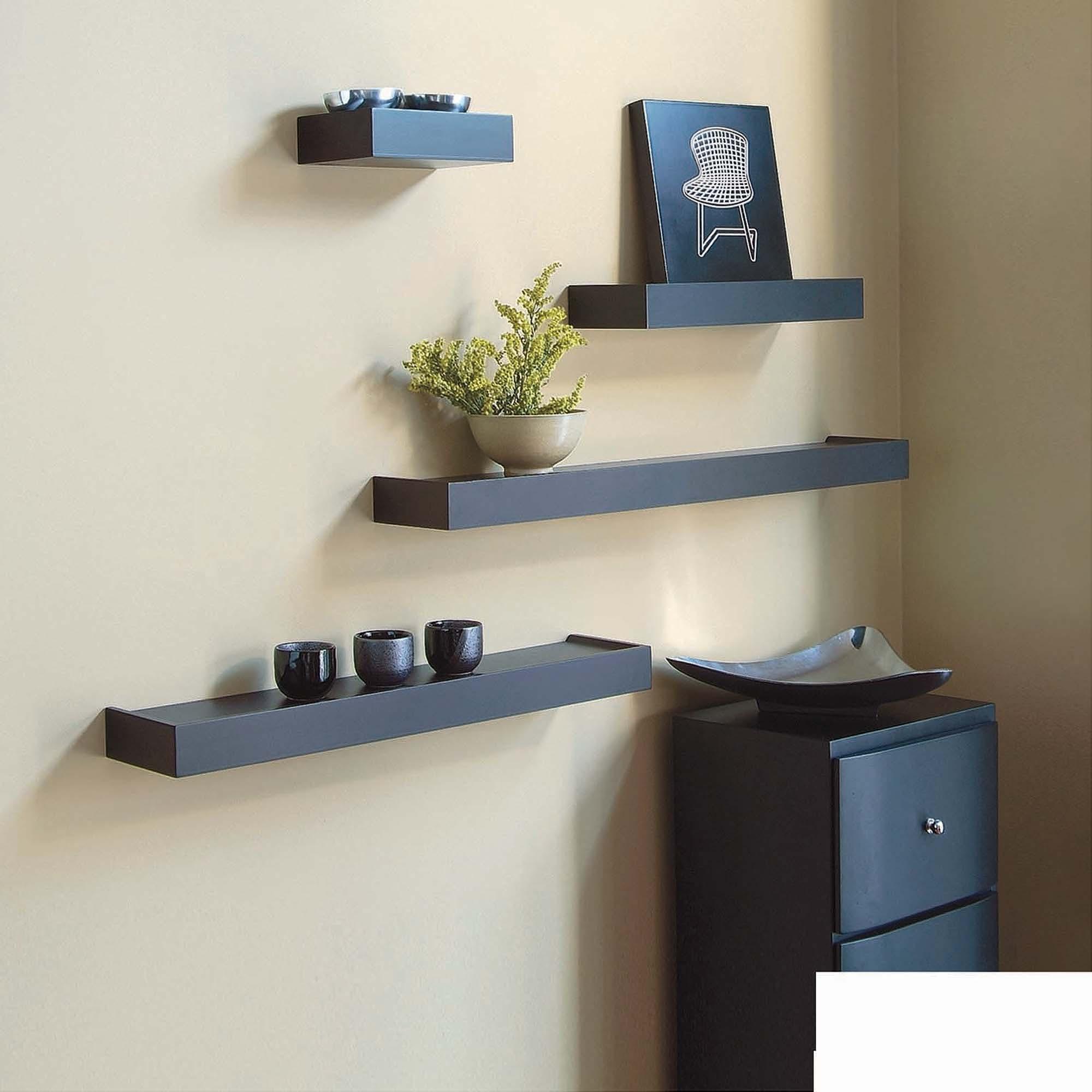 Floating wall shelves Kiera Grace Vertigo set of 4 espresso wall shelves, 6 XICTMQU