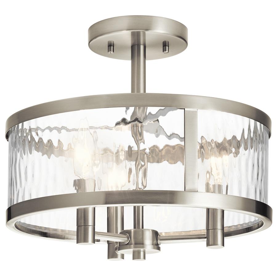 Recessed luminaire kichler marita 13-in w brushed nickel clear glass semi-recessed luminaire NGURUHM