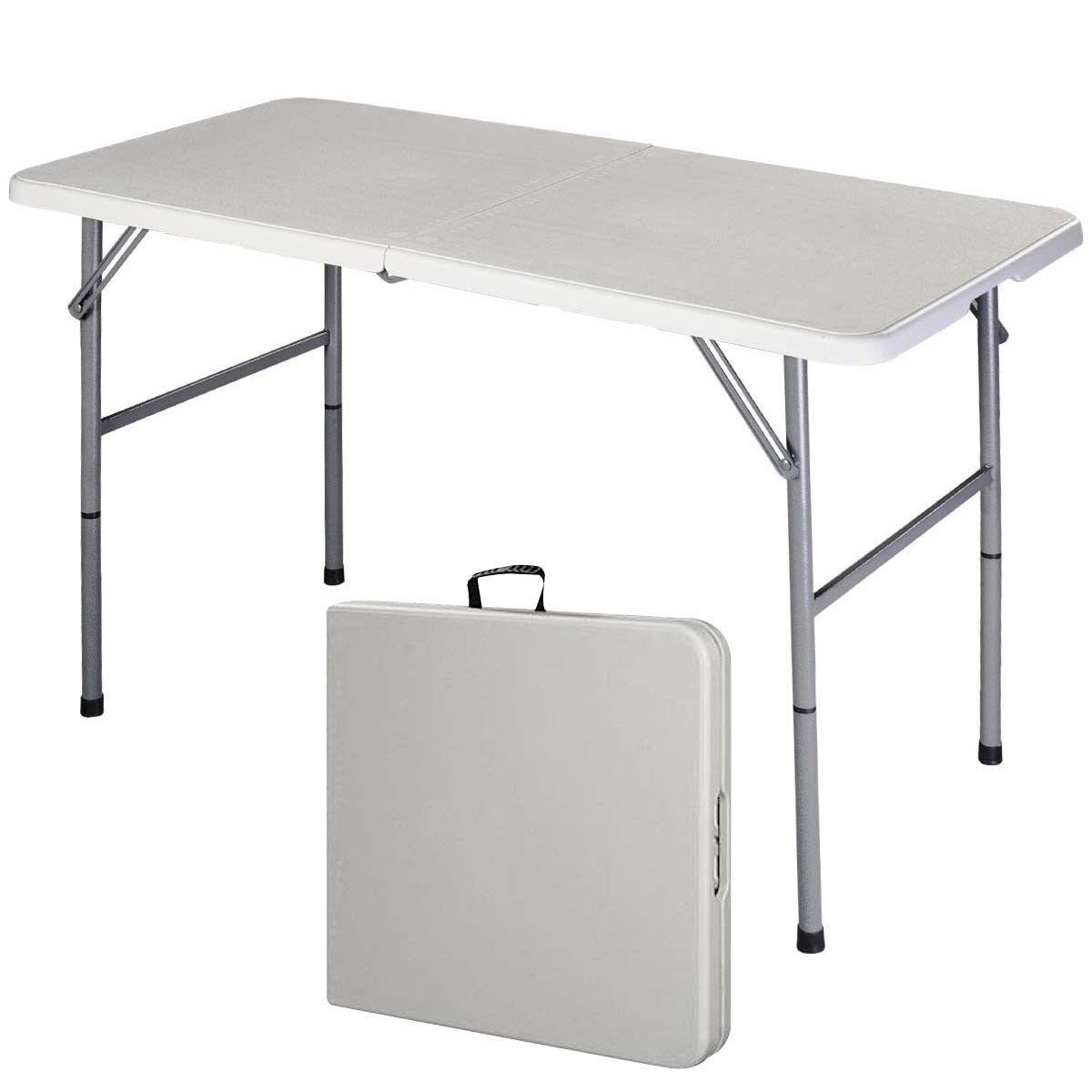 Folding table Lifetime 8u0027 folding table, almond - walmart.com UYZEMRR