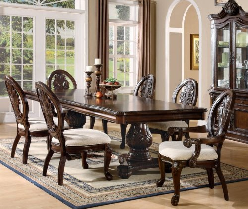 Formal Dining Room Sets amazon.com - 7 Piece Formal Dining Table & Chairs with Claw Design BUMSLWG