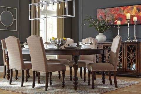 formal dining room set Baxenburg table with 6 chairs DSJCUES