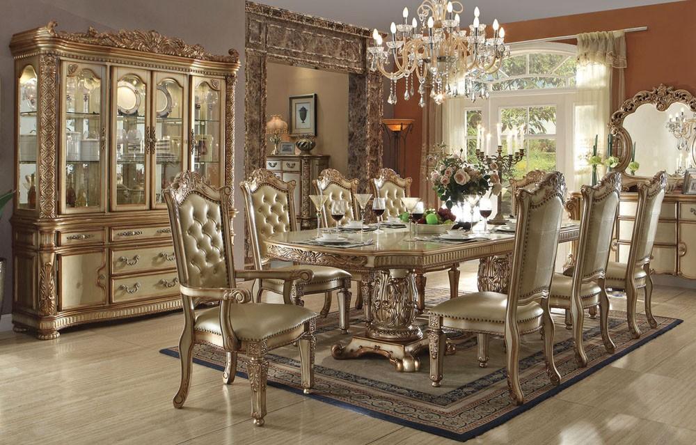 formal dining room sets Vendome Gold formal dining table set SXZLQVF