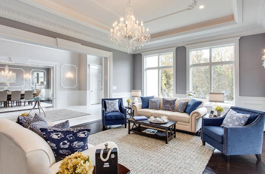 formal living room traditional luxury living room with tray ceiling and glass chandelier SHCQYRT