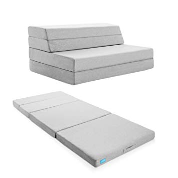 Full-size folding mattress lucid 4-inch folding mattress and sofa with removable inner / outer fabric FINKAMD