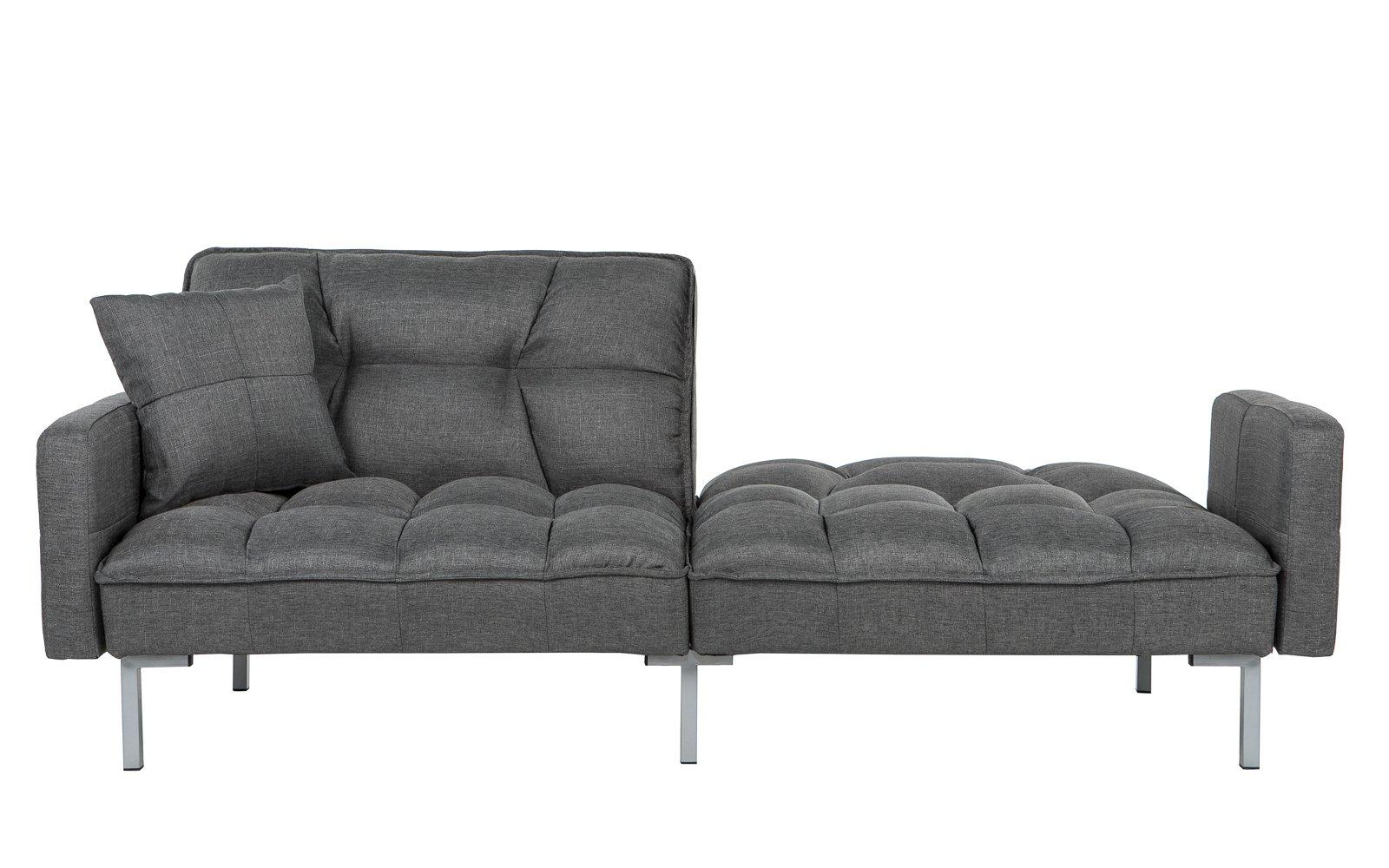 Futon couch ... verne modern linen plush futon in dark gray with a flat backrest YSBTRLQ
