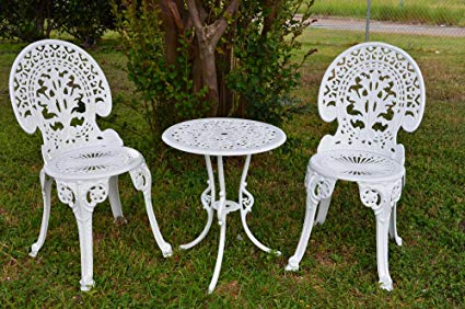 Garden bistro sets Engel white garden bistro set - table and two chairs for the garden, BSDABMT