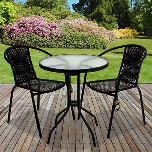 Garden Bistro Sets Rattan 3-piece Glass Table Set Café Bistro Stacking Chair Garden Outdoor HKWFPMO