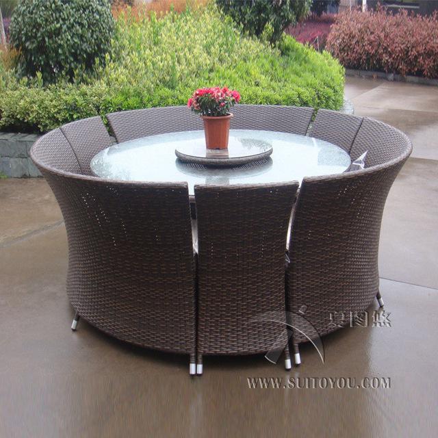 Garden dining set 7-piece outdoor rattan garden dining set, waterproof all-weather sofa OPMCWZZ