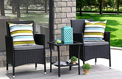 Garden dining set Baner Garden 3-part garden furniture complete terrace cushion PE wicker JIKMZEQ