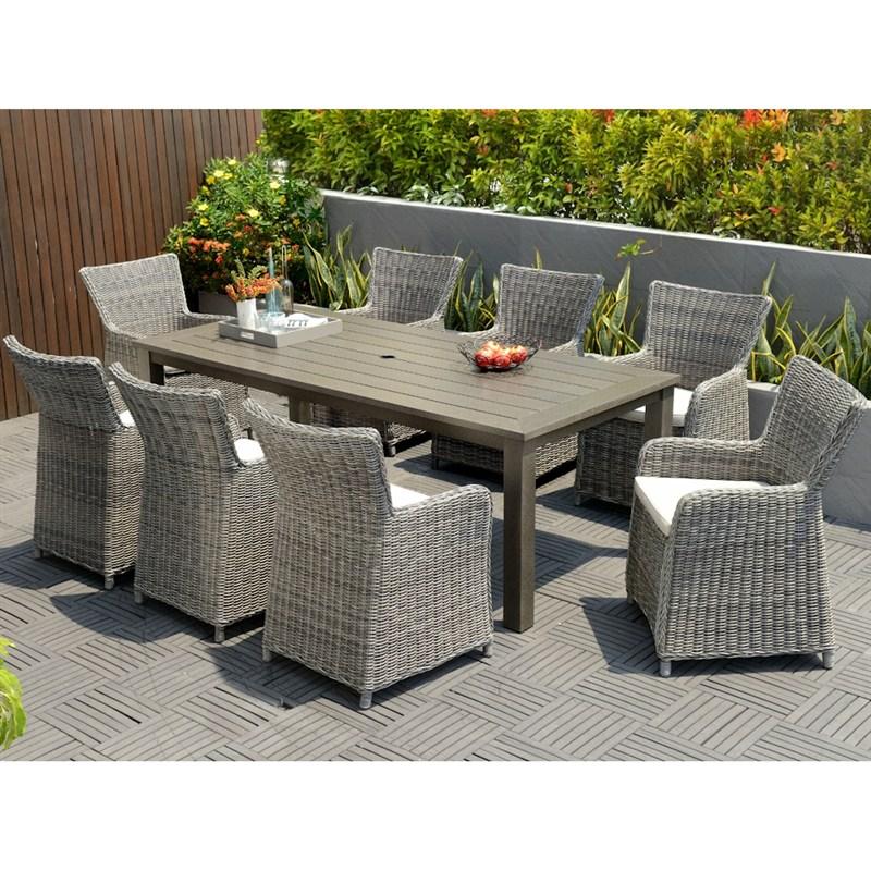 Garden dining set Lifestyle Garden Amosa 8-seater rectangular dining set DDIHCRP