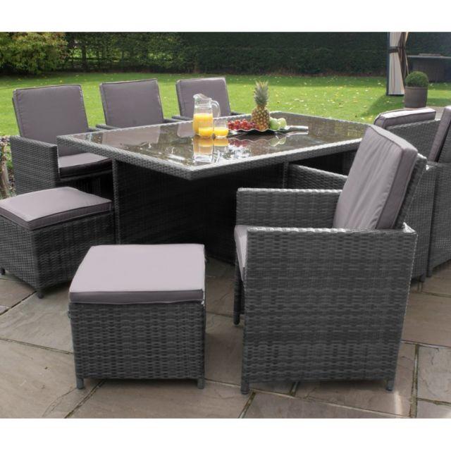 Garden dining set Milton rattan garden furniture gray 10-seater cube dining set SYEPQDS