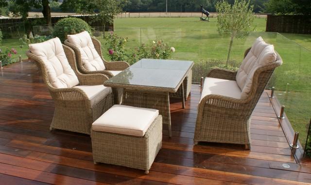 Garden dining set Mustique - sofa with high backrest Champagne rattan garden set VLECTZL