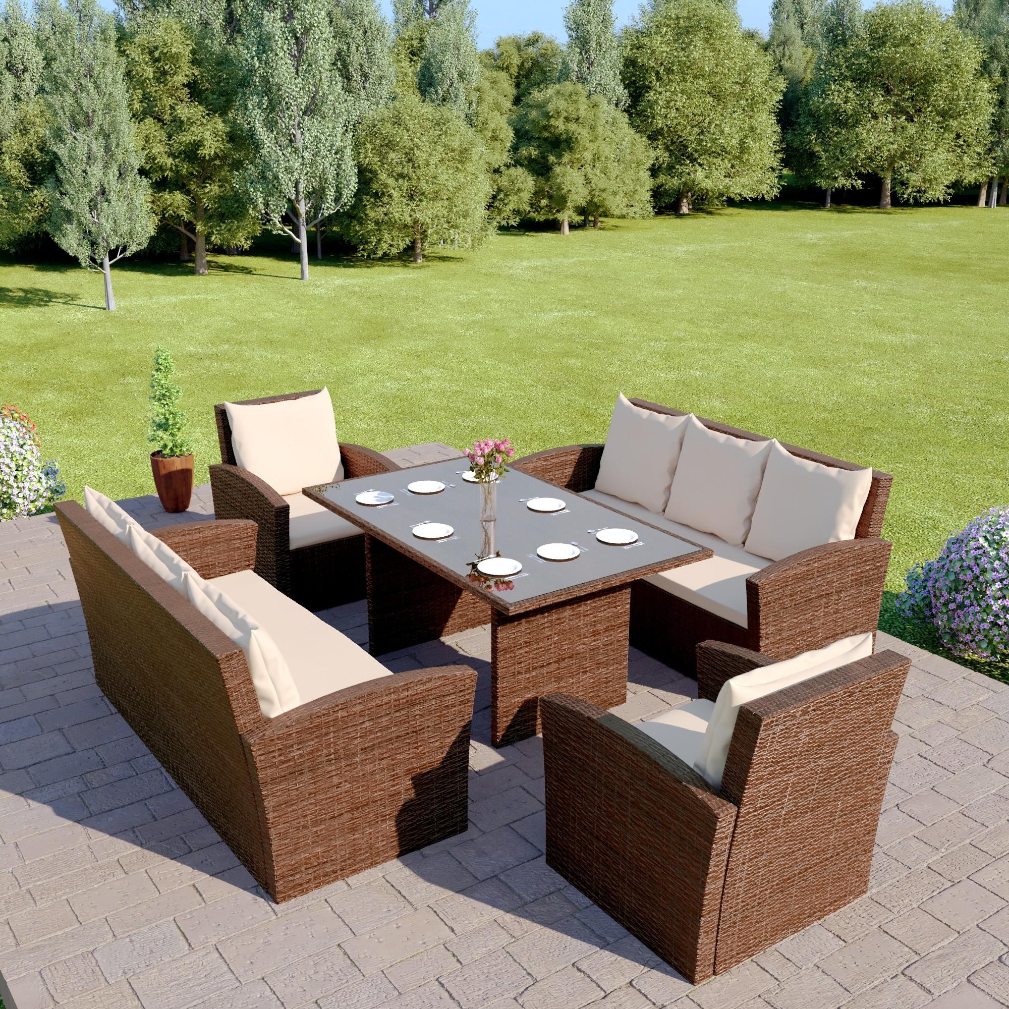 Garden dining set New Miami 8-seater garden furniture set in brown with bright cushions UQDFETG