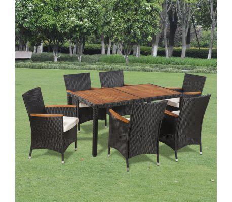Garden dining set vidaxl outdoor dining set 13 pieces polyrattan acacia table top KRBUCEP