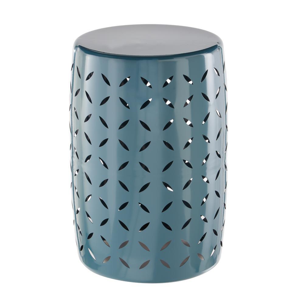 Hampton Bay metal garden stool geo-patterned in Charleston MDYRIKC