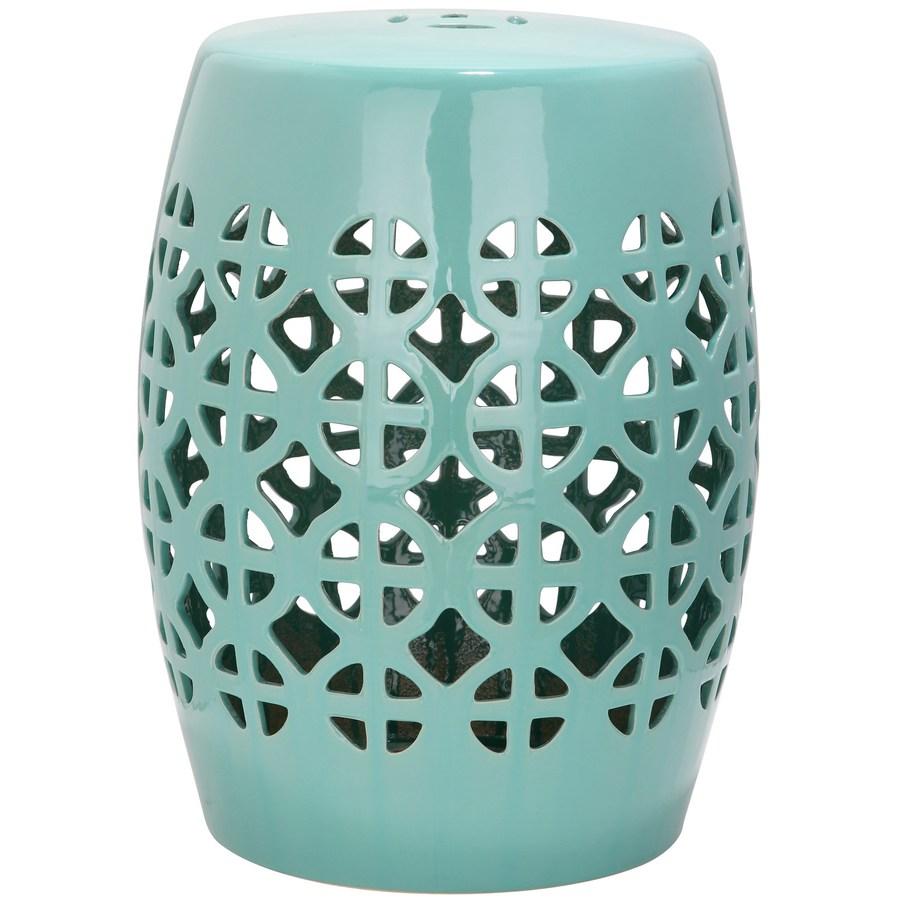 garden stool safavieh 18.5-in robins egg blue ceramic barrel garden stool DJXWBKN