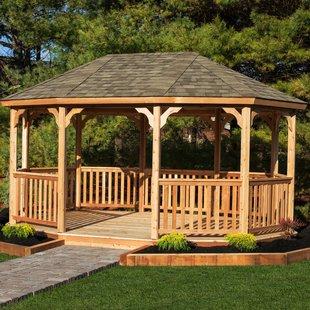 Pavilions 4 mx 3 m solid wood terrace pavilion VWUZXLI