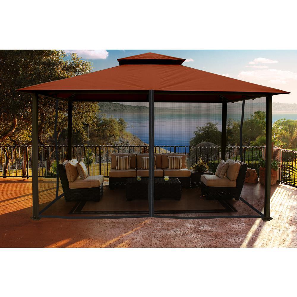 Pavilions Paragon outdoor pavilion 11 ft. X 4 ft. With rust-colored sun visor WMSONDI