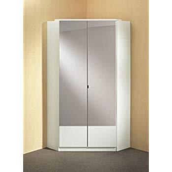germanica ™ image 2-door mirrored corner cabinet in white color made in KHDPFZF