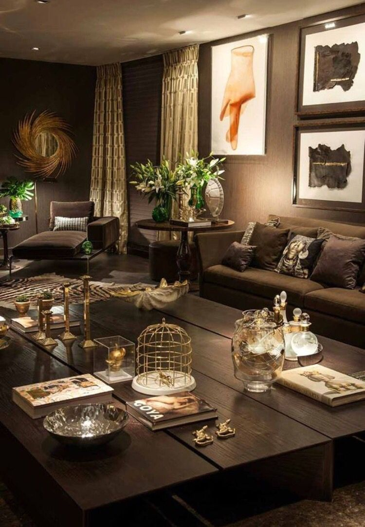 Get awesome brown living room ideas for brown home decor and decoration USHHHUT