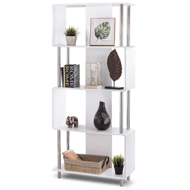 Giantex industrial style 4 shelf modern bookcase living room storage display NOCAFOG